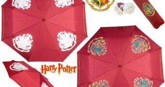 Guarda-Chuva com Brasão de Hogwarts que Muda de Cor Quando Molhado (Harry Potter)
