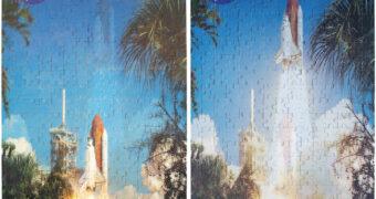 Quebra-Cabeça Lançamento do Ônibus Espacial Discovery com 300 Peças Lenticulares