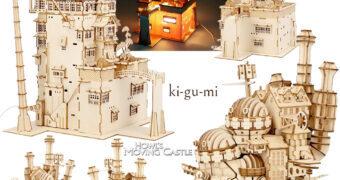 Quebra-Cabeças 3D Ki-Gu-Mi de Madeira Hayao Miyazaki: A Viagem de Chihiro e O Castelo Animado