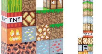 Luminária Minecraft com 16 Blocos Condutores Iluminados