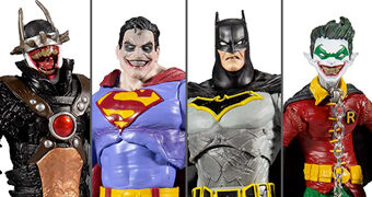 Action Figures DC Dark Multiverse: Batman que Ri, Super-Homem Infectado, Batman Metal, Robin Terra-22 e The Merciless