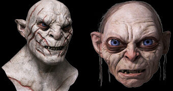 Máscaras Perfeitas do Gollum (Senhor dos Anéis) e Azog (O Hobbit)
