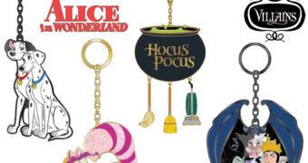 Chaveiros Disney de Metal Esmaltado: Pongo & Perdita, Gato de Cheshire, Hocus Pocus e as Vilãs Malvadas