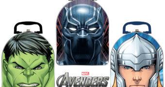 Trio de Lancheiras de Lata Vingadores 2020: Hulk, Thor e Pantera Negra