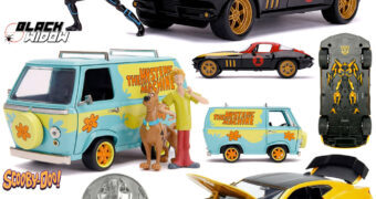 Set de Carrinhos 1:24 Hollywood Rides: Viúva Negra, Bumblebee e Scooby-Doo