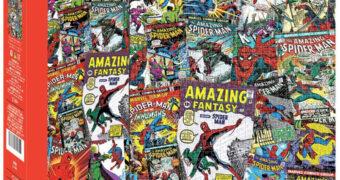 Quebra-Cabeça Homem-Aranha Colagem Capas de The Amazing Spider-Man com 1.000 Peças