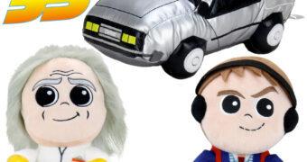 Bonecos de Pelúcia PHUNNY De Volta para o Futuro 35 Anos: Marty, Doc Brown e DeLorean