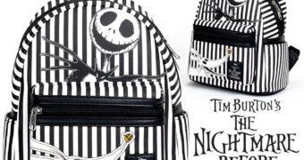 Mini-Mochila Nightmare Before Christmas Loungefly (O Estranho Mundo de Jack) Listrada de Preto e Branco