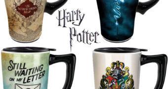 Canecas de Viagem Harry Potter: Mapa do Maroto, Patrono, Carta e Brasão de Hogwarts (Cerâmica)