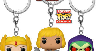 Chaveiros Funko Pocket Pop! Mestres do Universo: He-Man, She-Ra e Skeletor