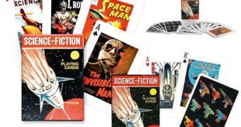 Baralho Piatnik Sci-Fi com Filmes, Livros e Comics Pulp da Ficção Científica Clássica