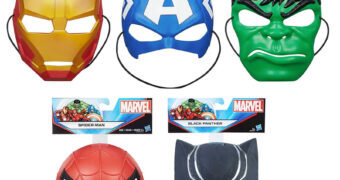 Máscaras Super Heróis Marvel: Iron Man, Capitão América, Black Panther e Spider-Man