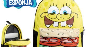 Mochila Bob Esponja Calça Quadrada Hambúrguer de Siri