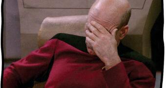 """Cobertor de Lance Capitão Picard """"Facepalm"""" (Star Trek: A Nova Geração)"""