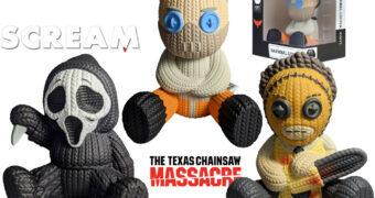 "Bonecos de Vinil ""Handmade By Robots"" no Estilo Crochê Amigurumi: Hannibal Lecter, Ghost Face e Leatherface"