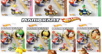 Carrinhos Mario Kart Hot Wheels com Tanooki Mario, Peach, Luigi, Donkey Kong e Outros