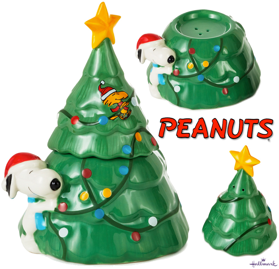 Saleiro e Pimenteiro Peanuts Snoopy With Christmas Tree Stacking Salt e Pepper Shakers