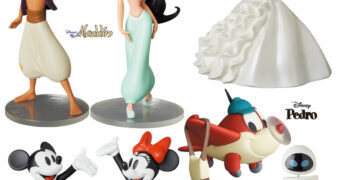 Bonecos Disney UDF Série 9: Jasmine e Aladdin, Mickey e Minnie, Giselle, EVE e o Avião Pedro