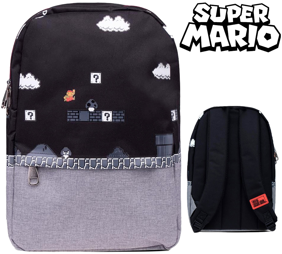 Mochila Super Mario-8bit Black and Grey Backpack
