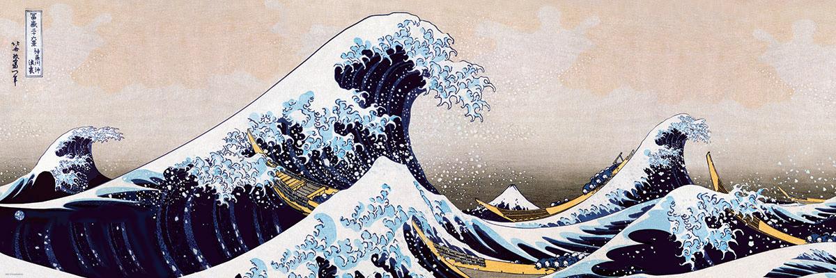 Quebra-Cabeca Great Wave of Kanagawa 1000 Pieces Panoramic Puzzle