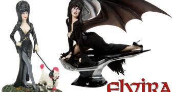 Elvira, a Rainha das Trevas no Carro Macabre Mobile e com o Cão Gonk