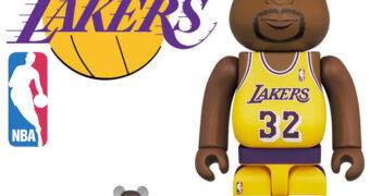 "Bonecos Magic Johnson ""Los Angeles Lakers"" Be@rbricks (100% & 400%)"