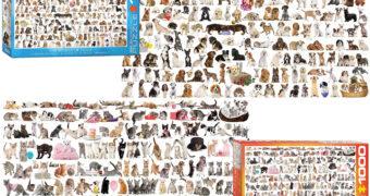 Quebra-Cabeças O Mundo dos Cães e O Mundo dos Gatos com 1.000 Peças Cada