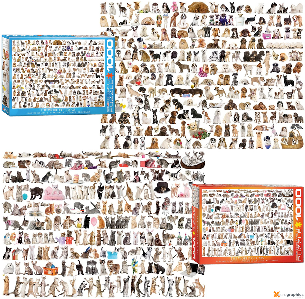Quebra-Cabeças The World of Dogs and Cats 1000 Piece Jigsaw Puzzles