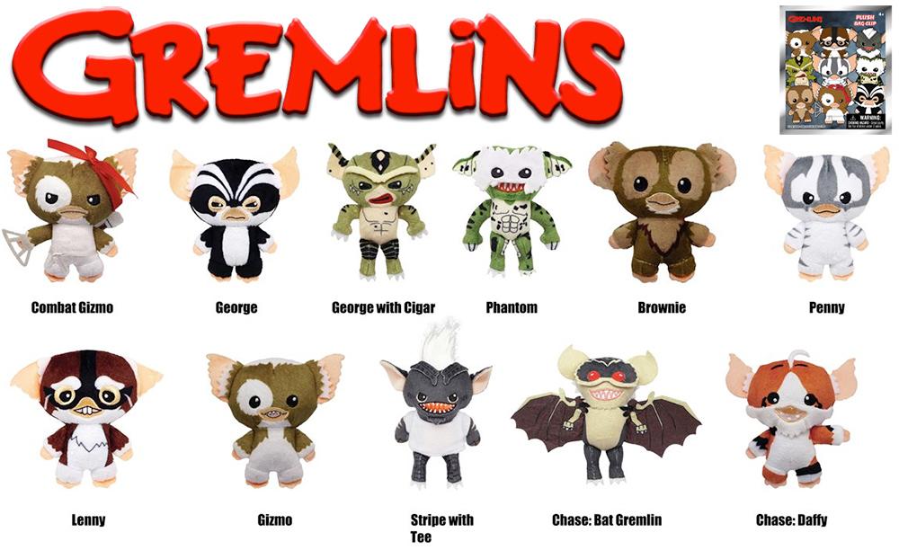 Chaveiros de Pelúcia Gremlins Figural Plush Bag Clips