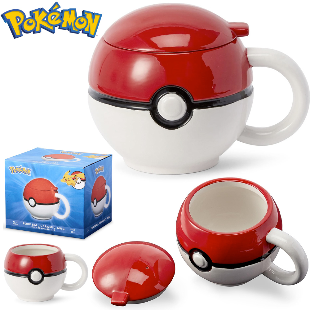 Caneca Pokemon Pokebola Esferica com Tampa
