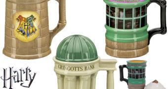 Canecas Prédios Harry Potter: Hogwarts, Gringotts e Honeydukes