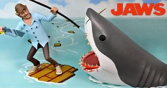Toony Terrors Jaws: Quint e Tubarão Bruce em Estilo Desenho Animado