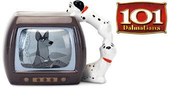 Caneca Disney 101 Dálmatas 60 Anos: TV Thunderbolt com Filhotes Lucky e Rolly