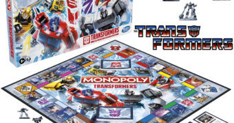 Jogo Monopoly Transformers com Optimus Prime, Bumblebee, Grimlock, Megatron, Starscream e Soundwave