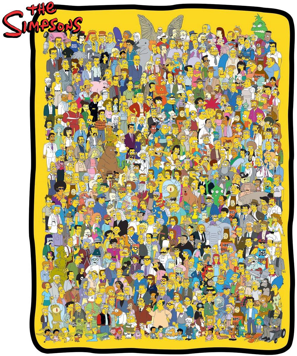 Cobertor Os Simpsons com o Elenco ao Longo de 30 Anos
