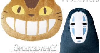Almofadas Hayao Miyazaki: Sem Rosto (A Viagem de Chihiro) e Catbus (Meu Amigo Totoro)