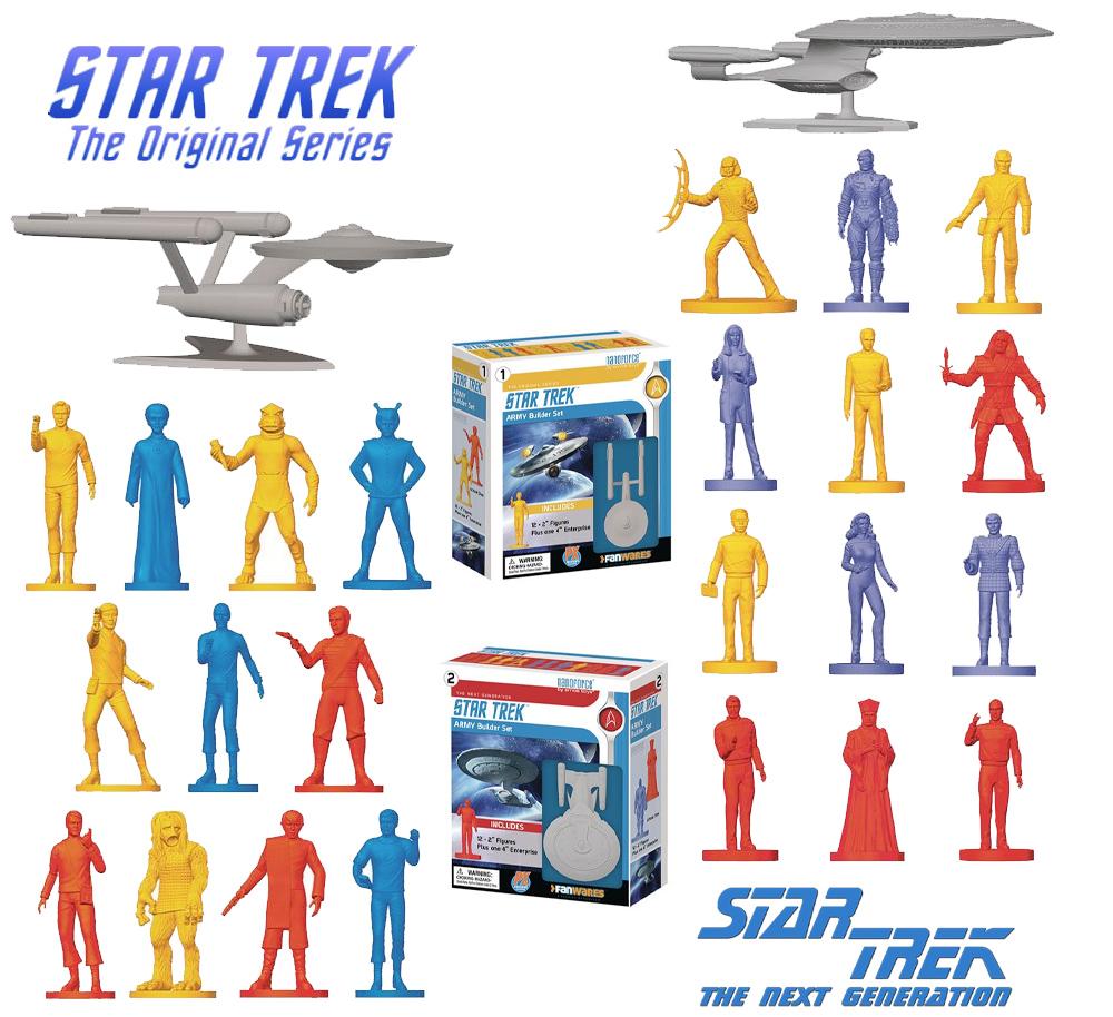 """Bonequinhos """"Army Men"""" das Séries Star Trek TOS e Star Trek A Nova Geração"""