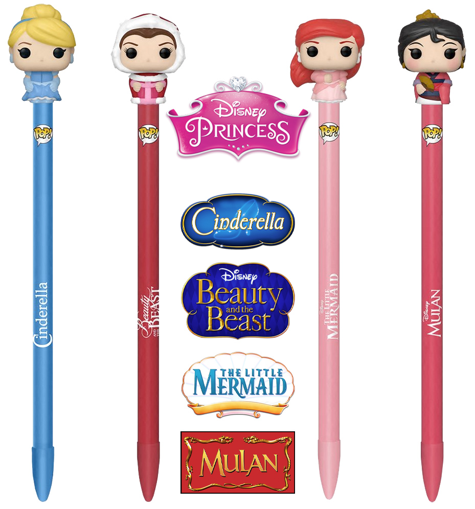 Canetas Princesas Disney Pop Pen Toppers Funko