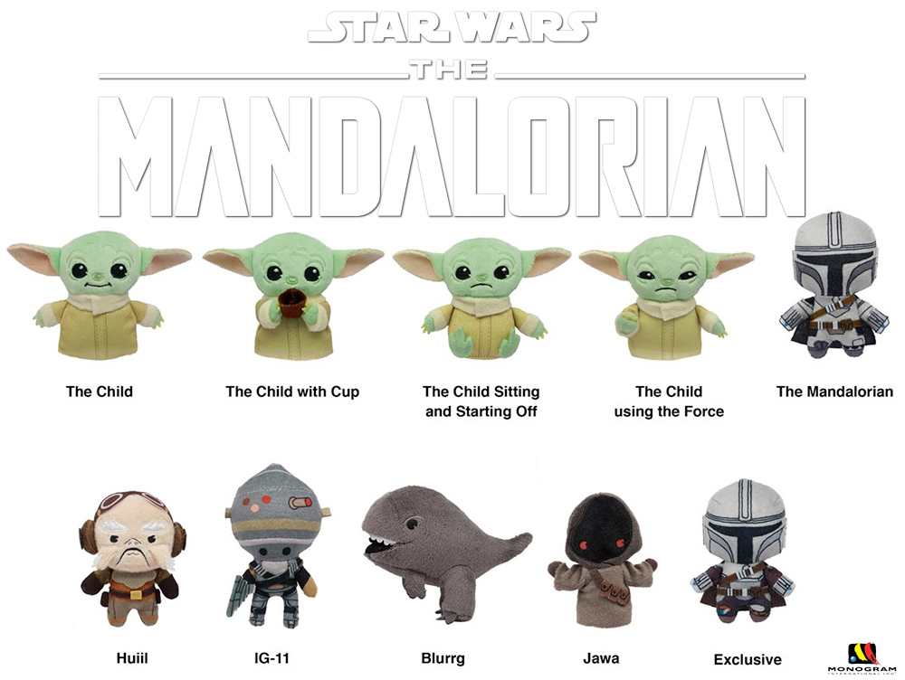 Chaveiros de Pelúcia Star Wars: The Mandalorian Figural Plush Bag Clips