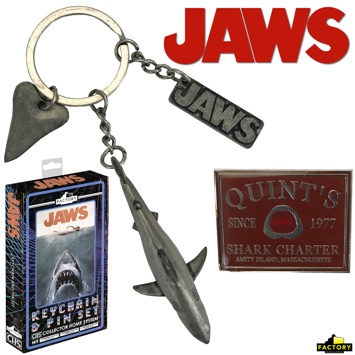 Chaveiro Tubarao Jaws Collector Home System Key Chain and Pin Gift Set