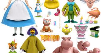 "Action Figures Super7 Ultimates ""Disney Classic Animations 2"" com Alice, Chapeleiro, Hyacinth e Robin Hood"