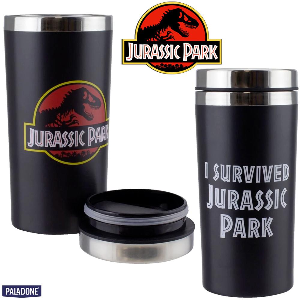 Caneca de Viagem Eu Sobrevivi Jurassic Park, O Parque dos Dinossauros