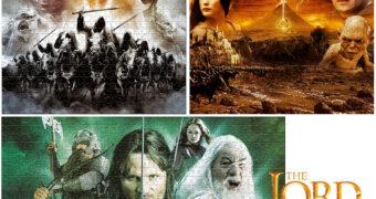 3 Quebra-Cabeças da Trilogia O Senhor dos Anéis com 1.000 Peças Cada (Top Trumps)