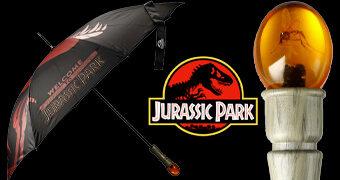 Guarda-Chuva Jurassic Park com Peça de Âmbar e Mosquito Pré-Histórico no Cabo