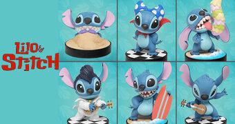 Stitch Mini Egg Attack Beast Kingdom: Sereia, Super, Glutão Surfista, Guitarrista e Elvis