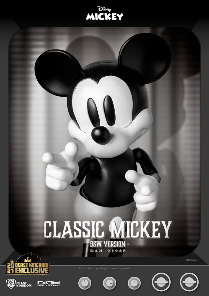 Mickey Mouse em Preto e Branco Dynamic Action Heroes Action Figure