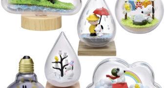 Mini Terrariums Peanuts Snoopy em Diferentes Condições Meteorológicas