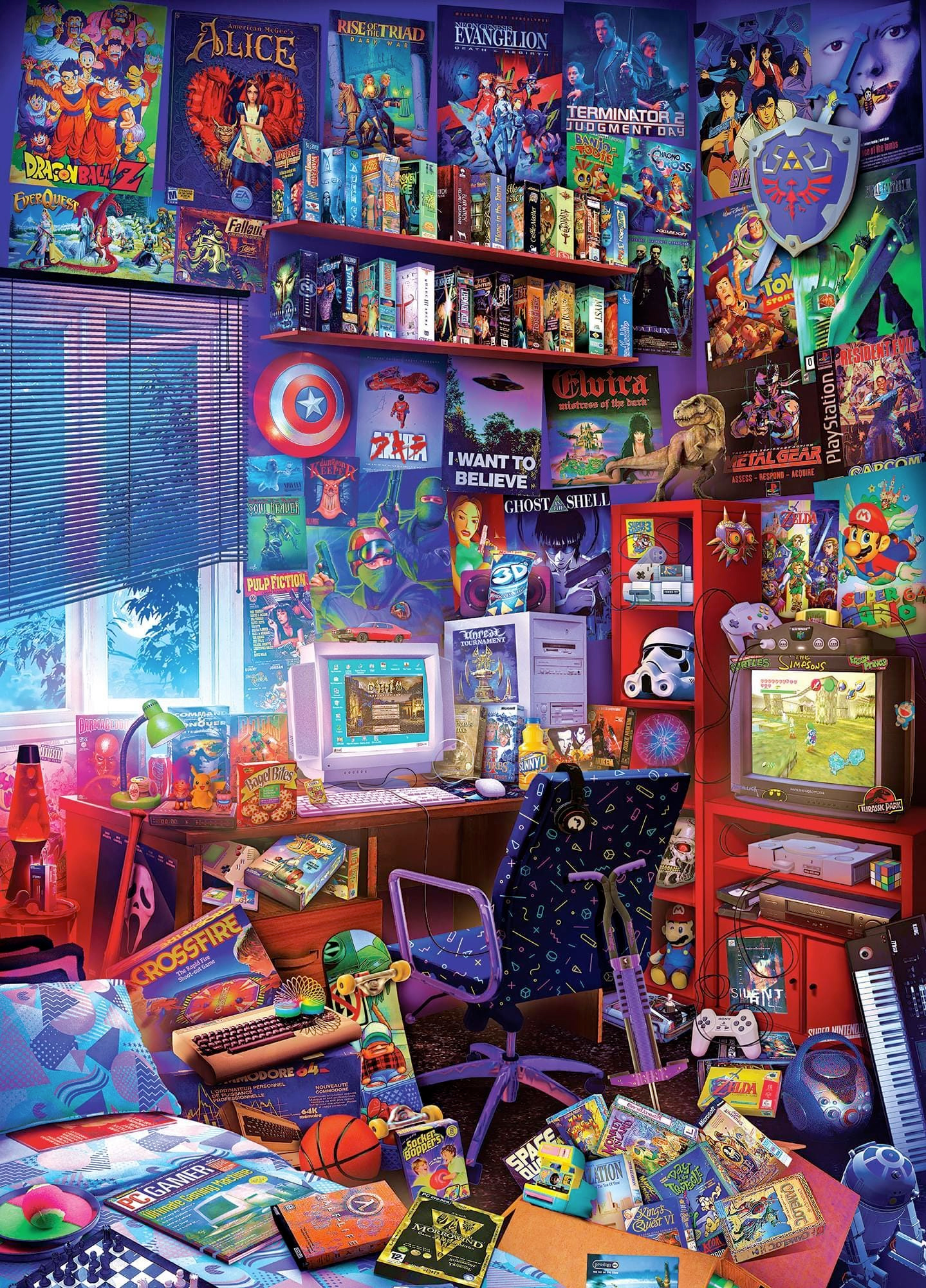 80s Game Room 1000 Piece Jigsaw Puzzle