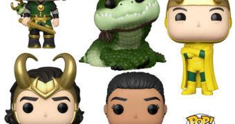 Bonecos Pop! da Série Loki: Alligator Loki, Kid Loki, Classic Loki, President Loki e Ravonna Renslayer