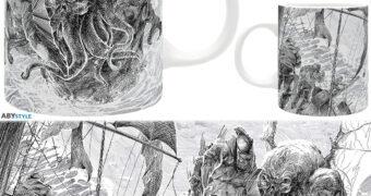 Caneca Cthulhu Ataca com Ilustração em Preto-e-Branco (H.P. Lovecraft)